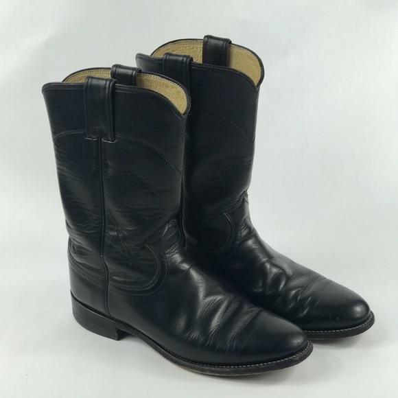 """c6b954ca153 Justin L3703 Cora Roper Boots 10"""" Black Kipskin 7B"""